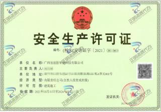 南宁-智能科技有限公司安全生产许可证